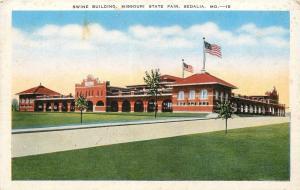 Sedalia Missouri~Big Flag Over State Fair Swine Building~1940s Postcard