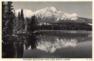 Canada Jasper Pyramid Mountain and Lake Edith Lake Forest Postcard