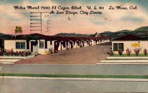 California San Diego La Mesa The Miles Motel 1959