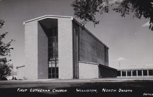 North Dakota Williston First Lutheran Church Real Photo