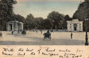 Belgium Bruxelles Entree du Bois Horse Carriage Rides Postcard