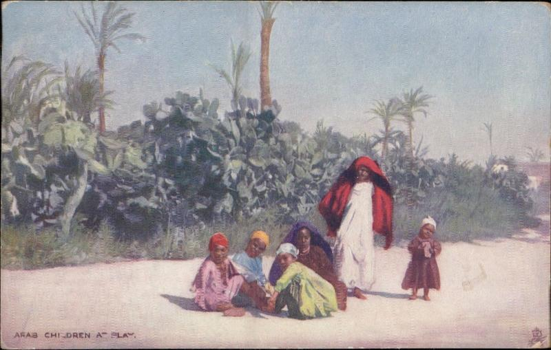 arab children at play native typical costumes TUCK Oilette