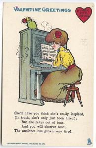 Raphael Tuck Valentine Greetings The Woman Pianist Postcard