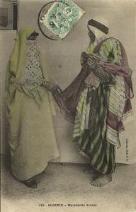 algeria, Native Arab Merchant with Veiled Woman, Niqab Islam (1906) Stamp