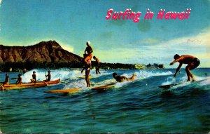 Hawaii Waikiki Beach Surfing Scene 1976