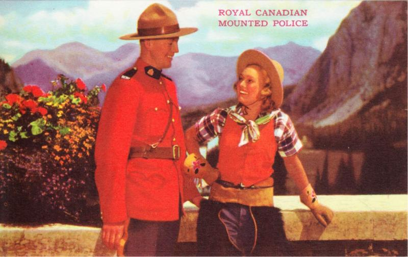 Canada Mountie and Cowgirl RCMP Original 1940s Postcard
