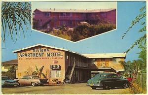 Chula Vista CA Riviera Motel Old Cars Lodging Vintage Postcard