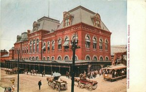 Chicago Illinois C-1910 Trolley Union Station Canal Adams Postcard Hammon 4459