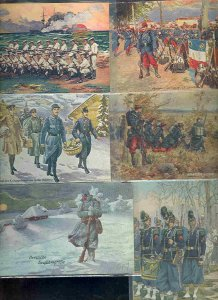 pc9654 postcard Military Uniforms SIX all MOBSC