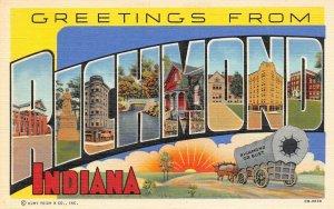 LP43   Large Letters Richmond Indiana Vintage Postcard Curteich