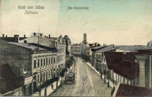latvia russia, LIBAU LIEPAJA, Die Kornstrasse, Tram (1914)