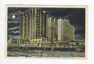 Beach & Ambassador Hotel @ Night,Atlantic City,NJ / New Jersey 1926 PU