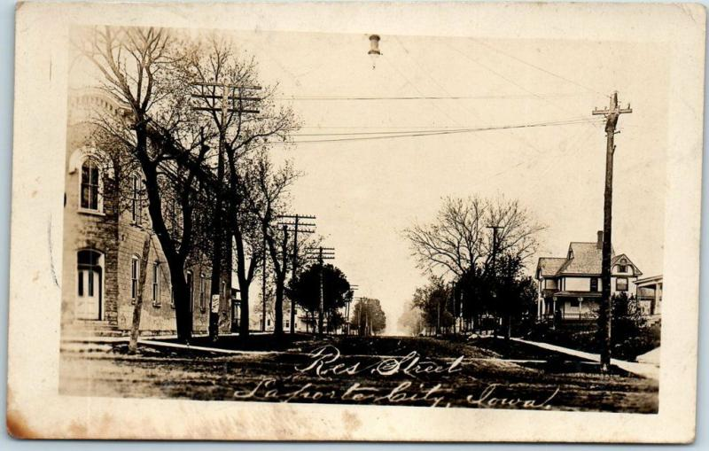 La Porte City, Iowa RPPC Real Photo Postcard Residential Street Scene 1911