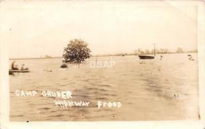 <A9> OKLAHOMA Ok RPPC Postcard c1940s CAMP GRUBER National Guard FLOOD Disaster