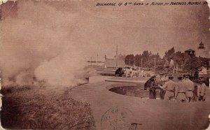 LPS57 Monroe Virginia Postcard Fortress Firing Cannons