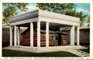 Utah Salt Lake City First House Built In Utah Now Under Pergola On Temple Blo...