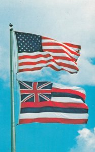 Hawaii & USA Flags , 50-60s