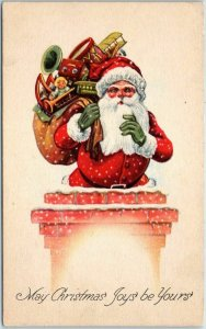 c1910s Christmas Postcard SANTA CLAUS at Top of Chimney w/ Bag of Toys UNUSED