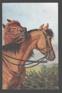 105914 Thoroughbred HORSE w/ saddle Vintage TSN #1772 PC