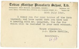 Tobias Matthew Pianoforte School 1945 used Postcard