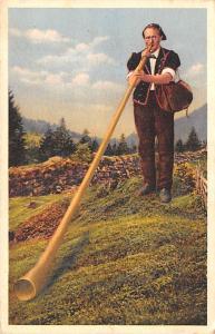 Switzerland Old Vintage Antique Post Card Alphornblaser Unused