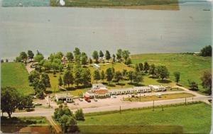 Dawson's Quinte Beach Motel Deseronto Ontario ON Ont. Aerial Postcard E29 *As Is