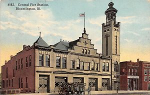 Central Fire Station Bloomington, Illinois, USA Fire Related 1917