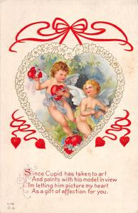 VALENTINE'S DAY Love Holiday Postcard c1910 V-79 Series Cupids Heart 470