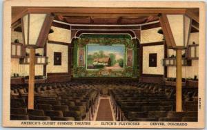 Denver, CO Postcard ELITCH'S PLAYHOUSE America's Oldest Summer Theatre Linen