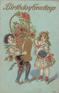 BIRTHDAY, 00-10s; Greetings, Boy and Girl with large gold basket with roses
