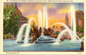 Pennsylvania Philadelphia Fountain On Parkway Showing Cathedral Of St Peter &...