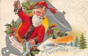 F99/ Santa Claus Christmas Postcard c1910 Nash Pipe Silver Boot 4