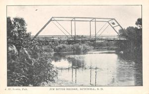 Mitchell SD Short Jim River Thru Truss Wagon Bridge~B&W Postcard c1906 UDB