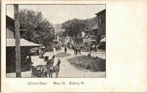 Circus Day on Main Street, Circus Cars Animals Bethel VT Vintage Postcard O12
