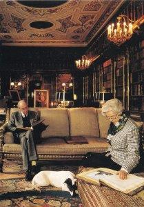 Duke & Duchess Of Devonshire in Chatsworth Library Postcard