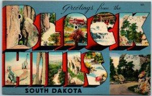 BLACK HILLS South Dakota Large Letter Postcard Metrocraft Linen 1946 Cancel