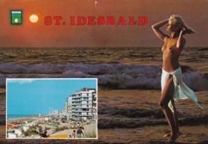 Risque Semi Nude Topless Girl On Beach St Idesbald Belgium