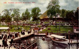 Reeds Lake, Michigan - People at the Pavilion and Dock - c1908