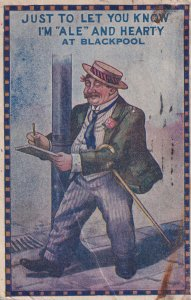 Drunk At Blackpool Antique Greetings Comic Postcard