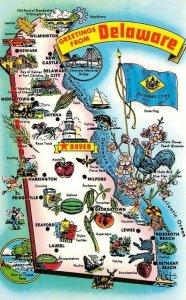 Delaware DE   MAP CARD Greetings  ROADSIDE ATTRACTIONS  ca1970's  Postcard