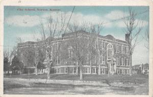 Norton Kansas~City School~Bare Trees in Yard~1920 Blue Sky Postcard