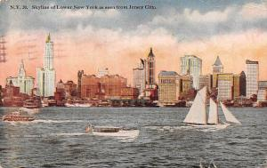US Skyline of Lower New York as seen from Jersey City 1920