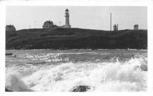 Cape Elizabeth ME Lighthouse Two Lights Ralph Blood Real Photo Postcard