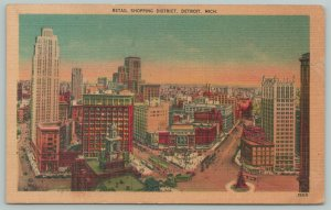 Detroit Michigan~Retail Shopping District~1940s Linen Postcard