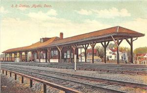 Mystic CT Railroad Station Train Depot Postcard
