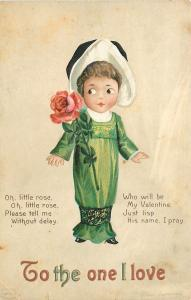 Ellen H Clapsaddle~Valentine~Little Girl in Long Lime Dress~Ankle Gathers~Emboss