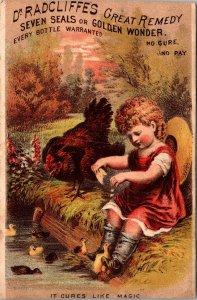 Antique Trade Card DR RADCLIFFE'S GOLDEN WONDER CURE ALL MEDICINE, GIRL W CHICKS