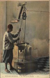 Sidi-Boumedine - Native Arab Man at Water Well c1910 Postcard