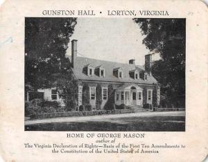 Lorton Virginia Gunston Hall George Mason Home Antique Non-PC Back JD228047
