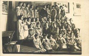 Postcard Romania social history group photo school 1930